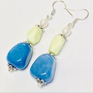 Lemon Magnesite Pearl & Blue Jadeite Earrings